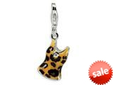 Amore LaVita™ Sterling Silver CZ Black and Yellow Enameled Tank Top w/Lobster Clasp Bracelet Charm style: QCC211