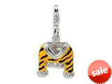 Amore LaVita™ Sterling Silver CZ Polished Enamel Tiger Jacket w/Lobster Clasp Charm for Charm Bracelet