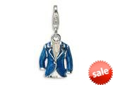 Amore LaVita™ Sterling Silver 3-D Blue Enameled Jacket w/Lobster Clasp Charm for Charm Bracelet