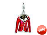 Amore LaVita™ Sterling Silver 3-D Enameled Red Jacket w/Lobster Clasp Bracelet Charm style: QCC214