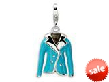 Amore LaVita™ Sterling Silver 3-D Enameled Blue Jacket w/Lobster Clasp Charm for Charm Bracelet
