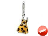 Amore LaVita™ Sterling Silver CZ Polished Enamel Leopard Dress Pendant for Charm Bracelet