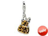 Amore LaVita™ Sterling Silver CZ Black and Yellow Enameled Overall w/Lobster Clasp Bracelet Charm style: QCC217