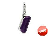 Amore LaVita™ Sterling Silver 3-D Purple Enameled Clutch Purse w/Lobster Clasp Bracelet Charm style: QCC225