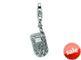 Amore LaVita™ Sterling Silver Flip Cell Phone CZ w/Lobster Clasp Charm (Moveable) for Charm Bracelet style: QCC232