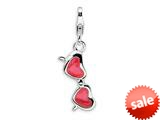 Amore LaVita™ Sterling Silver 3-D Enameled Coral Heart Sunglasses w/Lobster Clasp Bracelet Charm style: QCC235