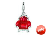 Amore LaVita™ Sterling Silver 3-D Enameled Red Overstuffed Chair w/Lobster Clasp Bracelet Charm style: QCC257