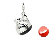 Amore LaVita™ Sterling Silver 3-D Enameled Coffee Pot w/Lobster Clasp Bracelet Charm style: QCC271