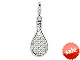 Amore LaVita™ Sterling Silver Tennis Racket w/Lobster Clasp Charm for Charm Bracelet