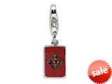 Amore LaVita™ Sterling Silver CZ and Enameled Diamond Card w/Lobster Clasp Charm for Charm Bracelet style: QCC321