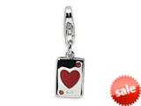 Amore LaVita™ Sterling Silver CZ and Enameled Heart Card w/Lobster Clasp Charm for Charm Bracelet