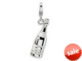 Amore LaVita™ Sterling Silver 3-D Enameled Champagne Bottle w/Lobster Clasp Bracelet Charm style: QCC346