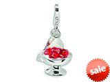 Amore LaVita™ Sterling Silver 3-D Enameled Dessert and Spoon w/Lobster Clasp Bracelet Charm style: QCC365