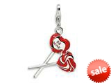 Amore LaVita™ Sterling Silver 3-D Enameled Red Heart Be Mine Lollipop w/Lobster Clasp Cha for Charm Bracelet