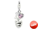 Amore LaVita™ Sterling Silver CZ I Love Cats w/Lobster Clasp Charm for Charm Bracelet