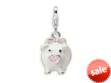 Amore LaVita™ Sterling Silver 3-D Enameled Pig w/Lobster Clasp Charm for Charm Bracelet style: QCC394