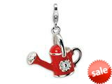 Amore LaVita™ Sterling Silver 3-D Enameled Red Watering Can w/Lobster Clasp Charm for Charm Bracelet style: QCC414