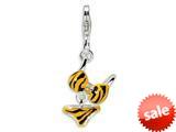 Amore LaVita™ Sterling Silver CZ Polished Enamel Tiger Bikini Pendant for Charm Bracelet style: QCC419