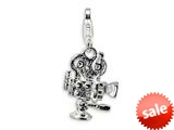 Amore LaVita™ Sterling Silver Polished Movie Projector w/Lobster Clasp Charm for Charm Bracelet
