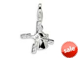Amore LaVita™ Sterling Silver Polished Windmill w/Lobster Clasp Charm (Moveable) for Charm Bracelet