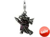 Amore LaVita™ Sterling Silver 3-D Antiqued Enameled Flying Witch w/Lobster Clasp Charm for Charm Bracelet