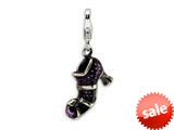 Amore LaVita™ Sterling Silver 3-D Antiqued Enameled Witches Shoe w/Lobster Clasp Charm for Charm Bracelet style: QCC462