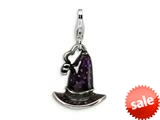 "Amore LaVita™ Sterling Silver 3-D Antiqued Enameled Witch""s Hat w/Lobster Clasp Bracelet Charm style: QCC463"