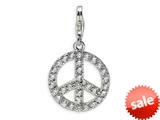 Amore LaVita™ Sterling Silver Peace Sign w/Lobster Clasp Charm for Charm Bracelet style: QCC475