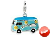 Amore LaVita™ Sterling Silver 3-D Enameled Peace Bus w/Lobster Clasp Charm for Charm Bracelet style: QCC490