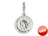 Amore LaVita™ Sterling Silver St. Christopher Medal w/Lobster Clasp Charm for Charm Bracelet style: QCC505