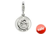 Amore LaVita™ Sterling Silver Saint Joseph Medal w/Lobster Clasp Charm for Charm Bracelet style: QCC506