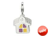 Amore LaVita™ Sterling Silver 3-D Enameled Church w/Lobster Clasp Charm for Charm Bracelet style: QCC522