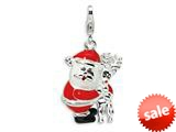 Amore LaVita™ Sterling Silver 3-D Enameled Santa and Reindeer w/Lobster Clasp Charm for Charm Bracelet
