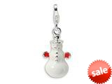 Amore LaVita™ Sterling Silver 3-D Enameled Snowman w/Lobster Clasp Bracelet Charm style: QCC542