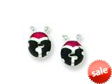 Sterling Silver Red Resin Ladybug Earrings style: QE1558