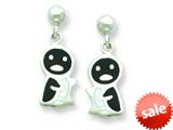 Sterling Silver Penguin Resin Earrings style: QE5662