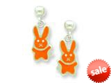 Sterling Silver Orange Bunny Resin Earrings style: QE5671