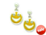 Sterling Silver Smiley Face Resin Earrings style: QE5675