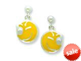 Sterling Silver Smiley Face Winking Resin Earrings