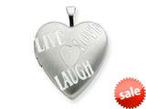 925 Sterling Silver 20mm with Heart LIVE, LOVE, LAUGH Heart Locket - Chain Included