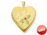 1/20 Gold Filled 20mm Enameled Mom Heart Locket - Chain Included