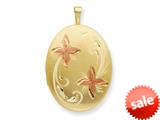 1/20 Gold Filled 20mm Enameled Flower Oval Locket - Chain Included