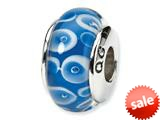 Reflections™ Sterling Silver Blue/White Murano Glass Bead / Charm style: QRS1118