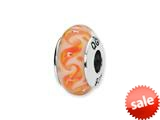 Reflections™ Sterling Silver White/Orange Swirls Hand-blown Glass Bead / Charm style: QRS1296