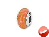 Reflections™ Sterling Silver Orange/White Spots Hand-blown Glass Bead / Charm style: QRS1297