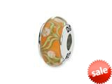 Reflections™ Sterling Silver Orange/White Floral Hand-blown Glass Bead / Charm style: QRS1304