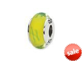 Reflections™ Sterling Silver Yellow/Green Scribbles Hand-blown Glass Bead / Charm style: QRS1309