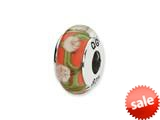 Reflections™ Sterling Silver Red/White Floral Hand-blown Glass Bead / Charm style: QRS1313