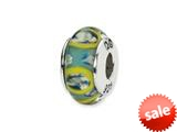 Reflections™ Sterling Silver Blue/Green Circles Hand-blown Glass Bead / Charm