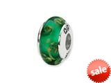 Reflections™ Sterling Silver Green Hand-blown Glass Bead / Charm style: QRS1320